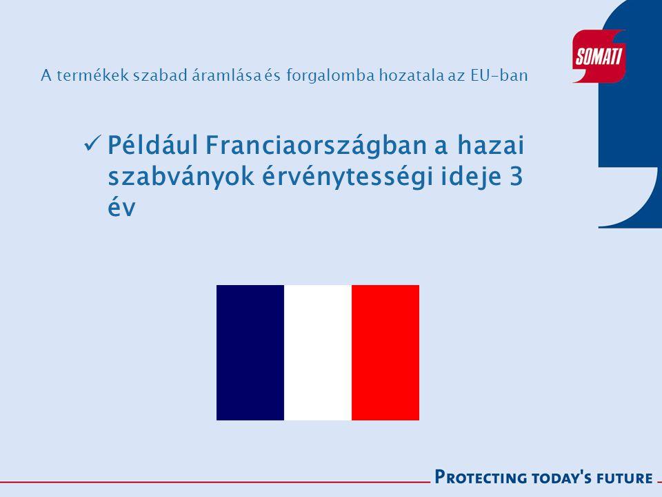 A termékek szabad áramlása és forgalomba hozatala az EU-ban Például Franciaországban a hazai szabványok érvénytességi ideje 3 év