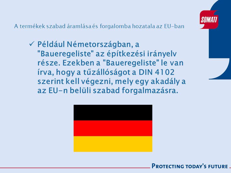A termékek szabad áramlása és forgalomba hozatala az EU-ban Például Németországban, a Baueregeliste az építkezési irányelv része.
