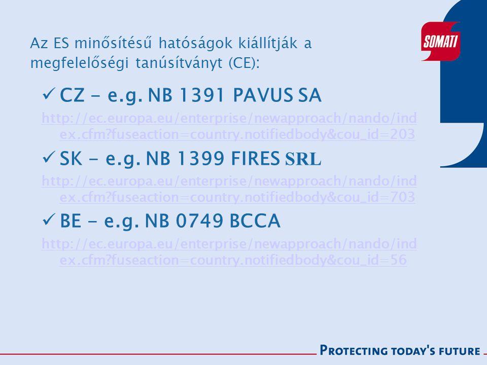 Az ES minősítésű hatóságok kiállítják a megfelelőségi tanúsítványt (CE) : CZ - e.g.