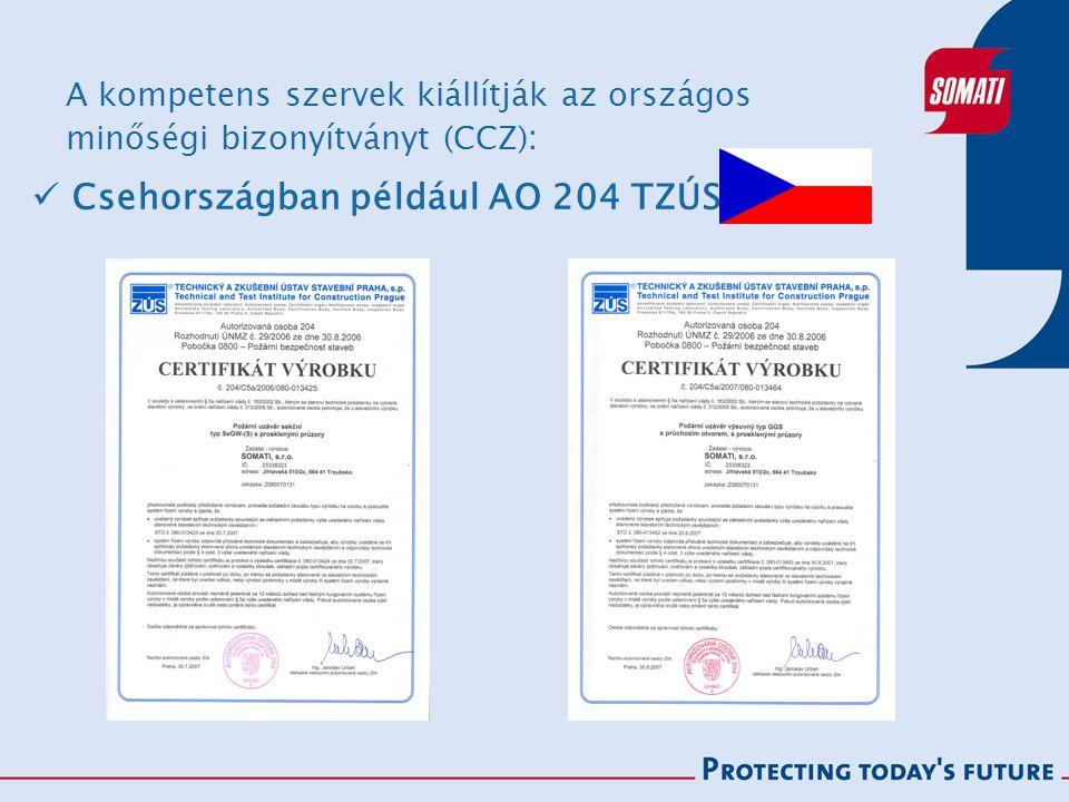 A kompetens szervek kiállítják az országos minőségi bizonyítványt (CCZ) : Csehországban például AO 204 TZÚS