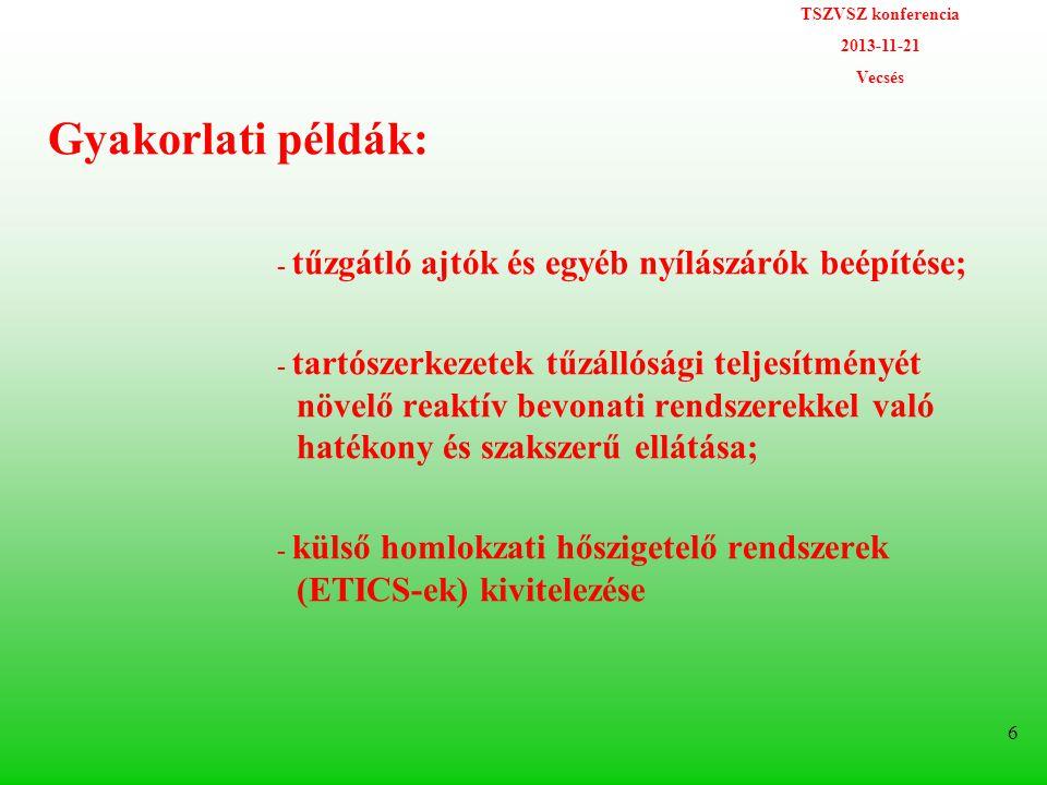 TSZVSZ konferencia 2013-11-21 Vecsés 6 Gyakorlati példák: - tűzgátló ajtók és egyéb nyílászárók beépítése; - tartószerkezetek tűzállósági teljesítményét növelő reaktív bevonati rendszerekkel való hatékony és szakszerű ellátása; - külső homlokzati hőszigetelő rendszerek (ETICS-ek) kivitelezése