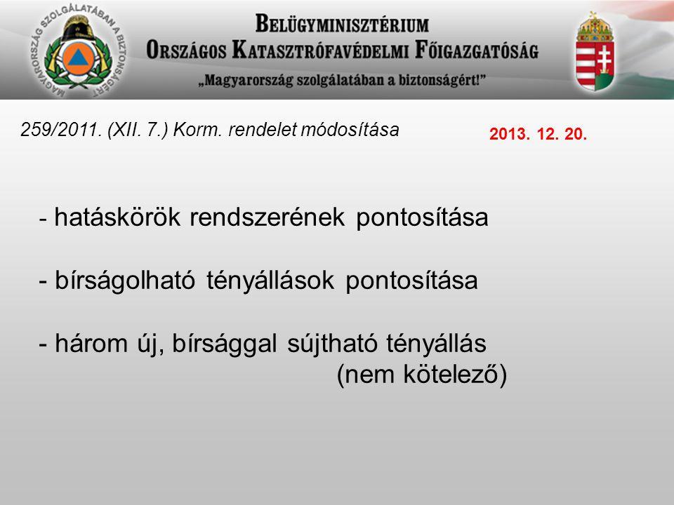259/2011.(XII. 7.) Korm. rendelet módosítása - bírságolható tényállások pontosítása 26.a.