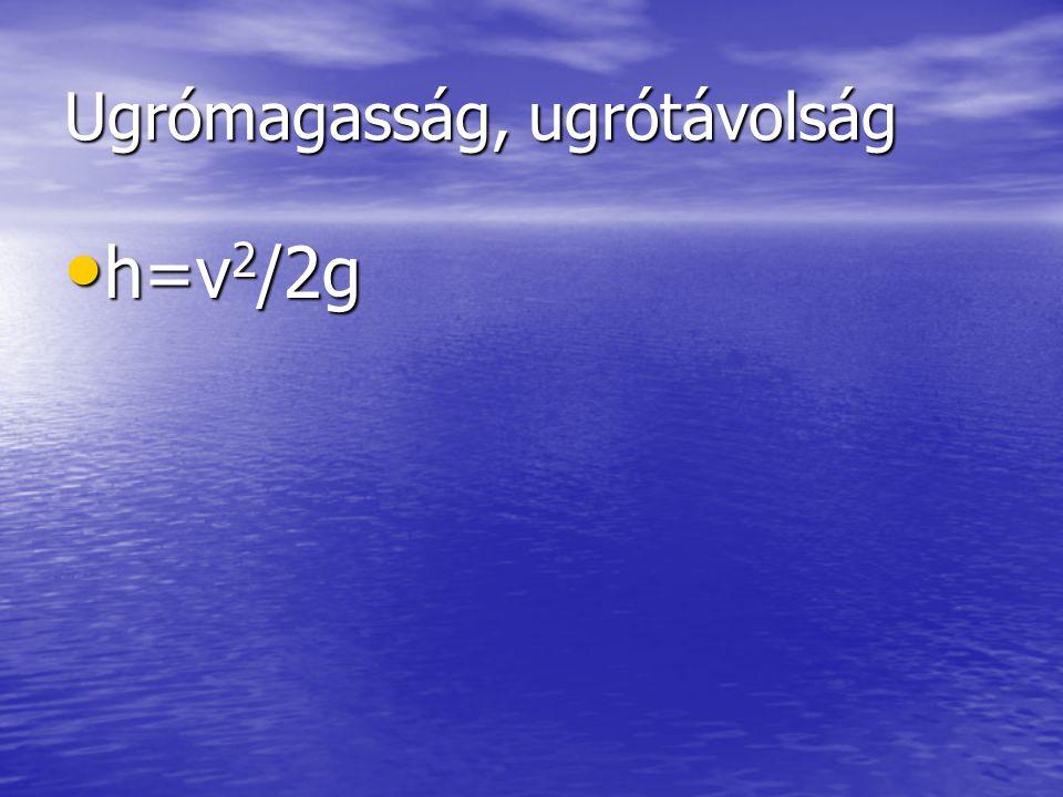 Ugrómagasság, ugrótávolság h=v 2 /2g h=v 2 /2g