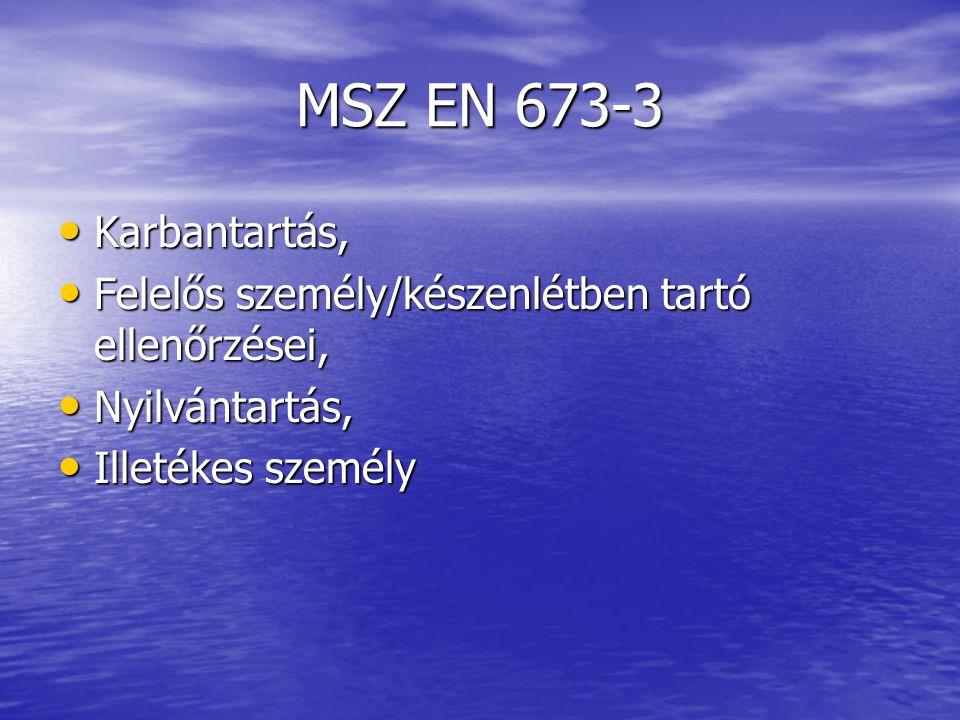 MSZ EN 673-3 Karbantartás, Karbantartás, Felelős személy/készenlétben tartó ellenőrzései, Felelős személy/készenlétben tartó ellenőrzései, Nyilvántart