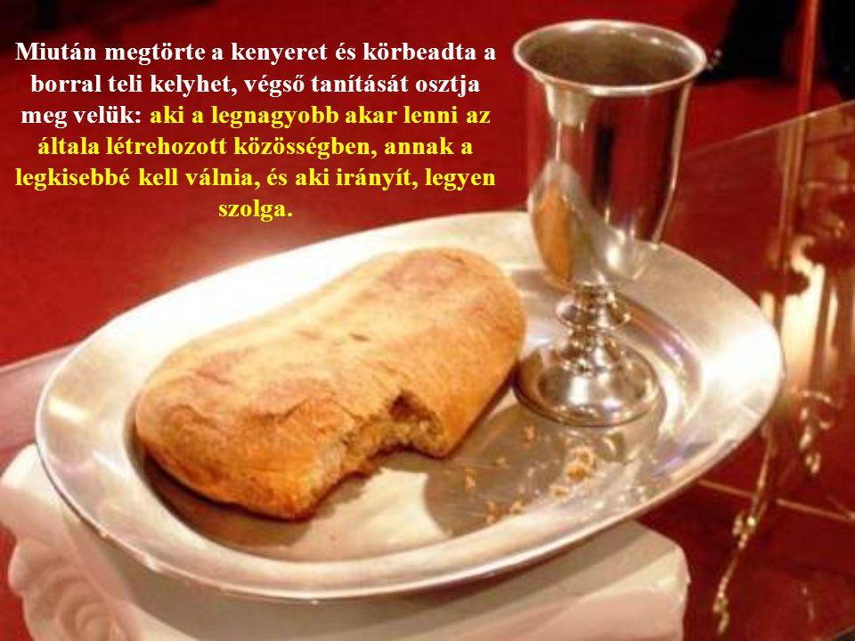 """Húsvét előestéjén, a kovásztalan kenyér ünnepén, az """"emeleti teremben"""" Jézus elkölti tanítványaival az utolsó vacsorát."""