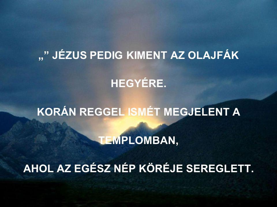 """"""" JÉZUS PEDIG KIMENT AZ OLAJFÁK HEGYÉRE."""