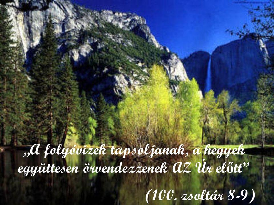 """""""A folyóvizek tapsoljanak, a hegyek együttesen örvendezzenek AZ Úr el ő tt"""" (100. zsoltár 8-9)"""