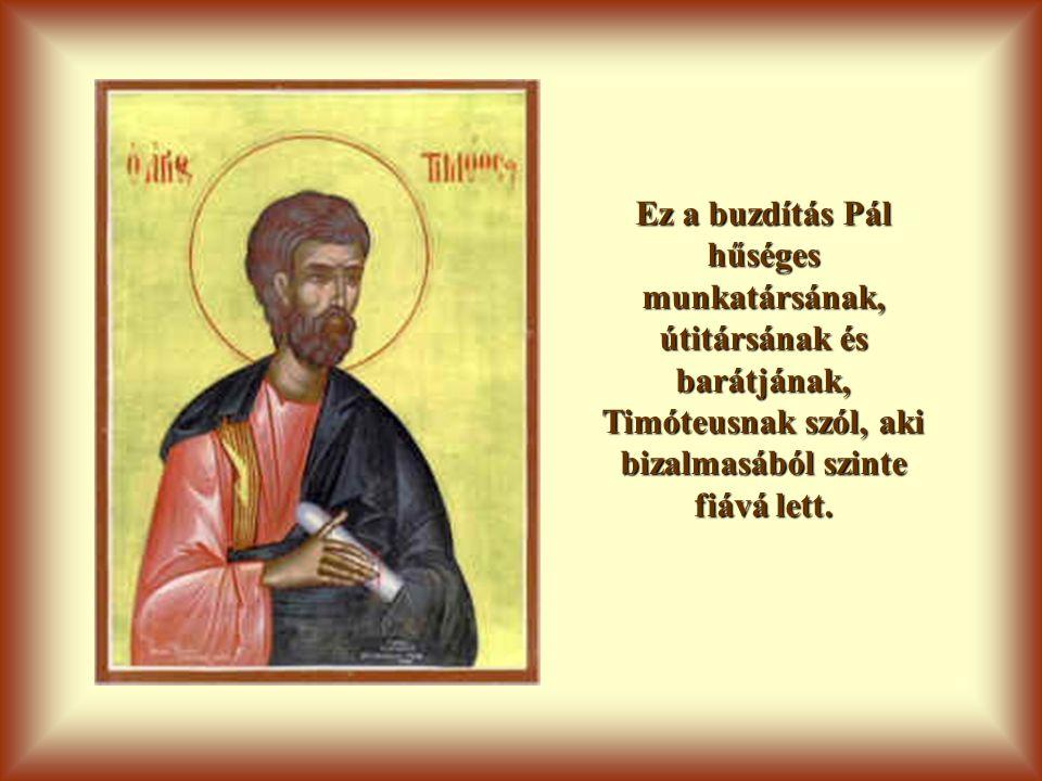 Ez a buzdítás Pál hűséges munkatársának, útitársának és barátjának, Timóteusnak szól, aki bizalmasából szinte fiává lett.