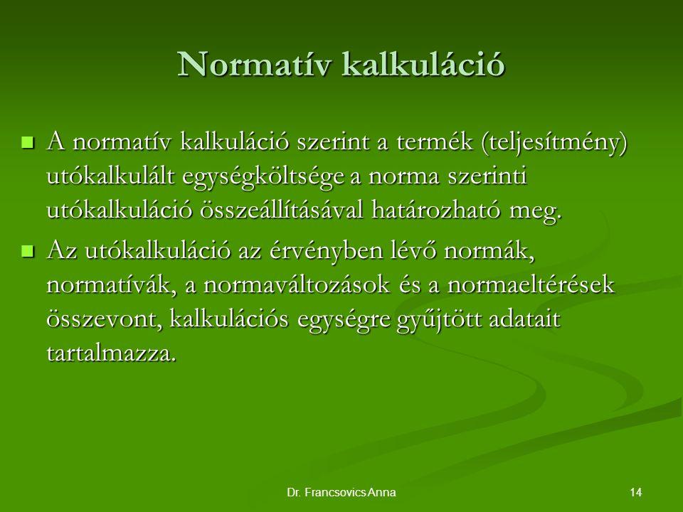 14Dr. Francsovics Anna Normatív kalkuláció A normatív kalkuláció szerint a termék (teljesítmény) utókalkulált egységköltsége a norma szerinti utókalku