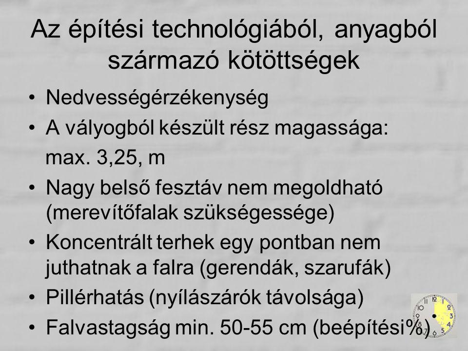 Nedvességérzékenység A vályogból készült rész magassága: max. 3,25, m Nagy belső fesztáv nem megoldható (merevítőfalak szükségessége) Koncentrált terh