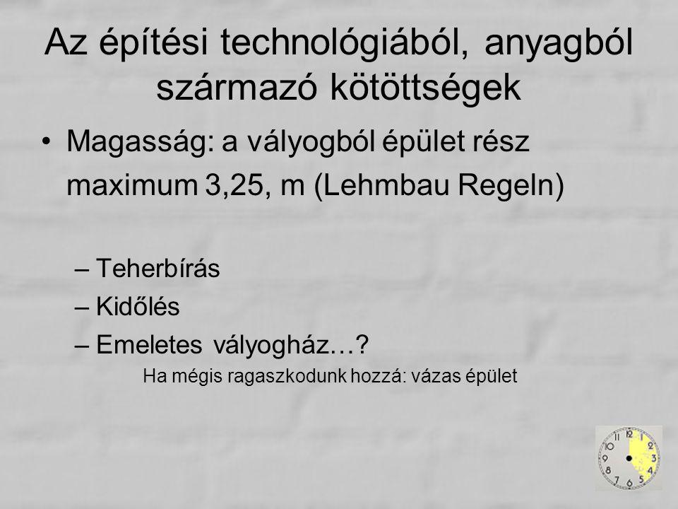 Az építési technológiából, anyagból származó kötöttségek Magasság: a vályogból épület rész maximum 3,25, m (Lehmbau Regeln) –Teherbírás –Kidőlés –Emel