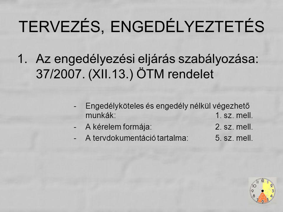 TERVEZÉS, ENGEDÉLYEZTETÉS 1.Az engedélyezési eljárás szabályozása: 37/2007. (XII.13.) ÖTM rendelet -Engedélyköteles és engedély nélkül végezhető munká