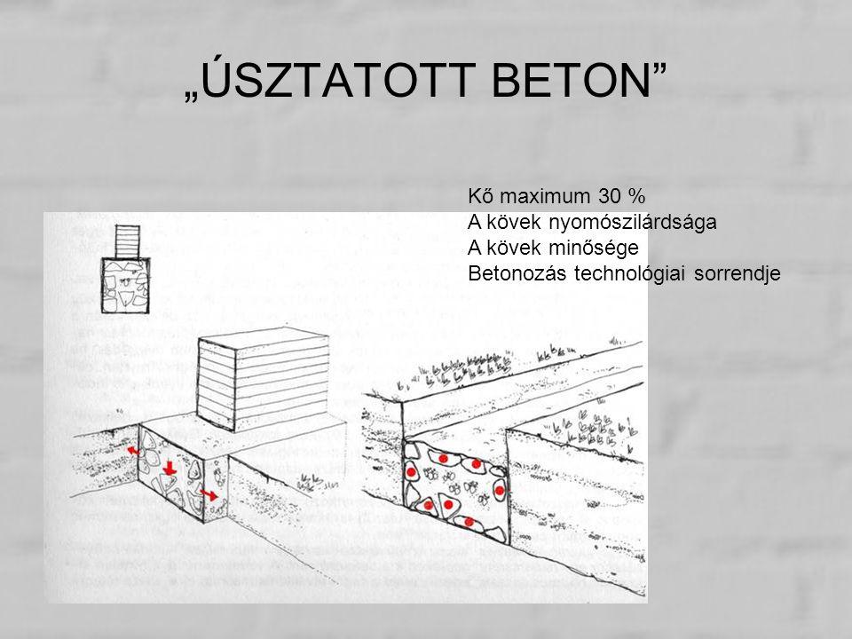 """""""ÚSZTATOTT BETON"""" Kő maximum 30 % A kövek nyomószilárdsága A kövek minősége Betonozás technológiai sorrendje"""