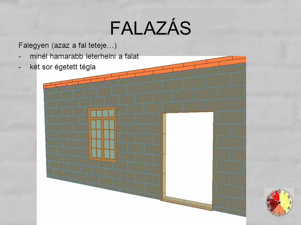 Falegyen (azaz a fal teteje…) -minél hamarabb leterhelni a falat -két sor égetett tégla