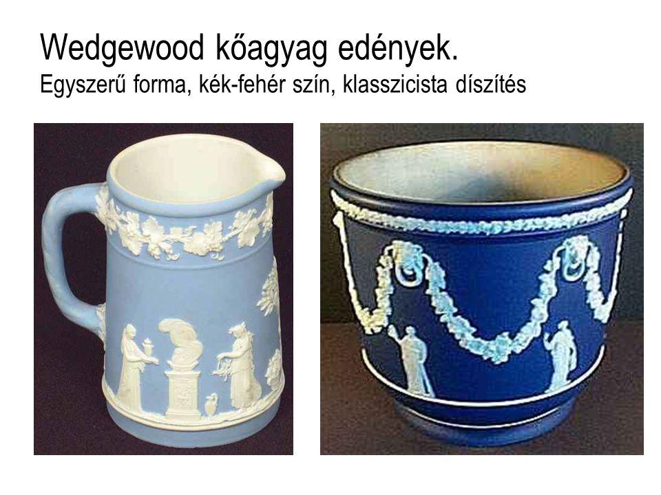 Wedgewood kőagyag edények. Egyszerű forma, kék-fehér szín, klasszicista díszítés