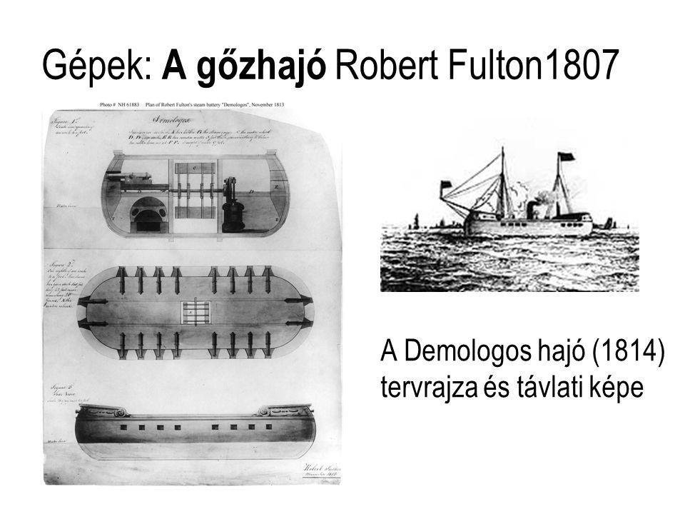 Gépek: A gőzhajó Robert Fulton1807 A Demologos hajó (1814) tervrajza és távlati képe