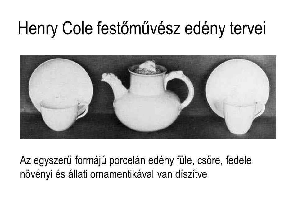 Henry Cole festőművész edény tervei Az egyszerű formájú porcelán edény füle, csőre, fedele növényi és állati ornamentikával van díszítve