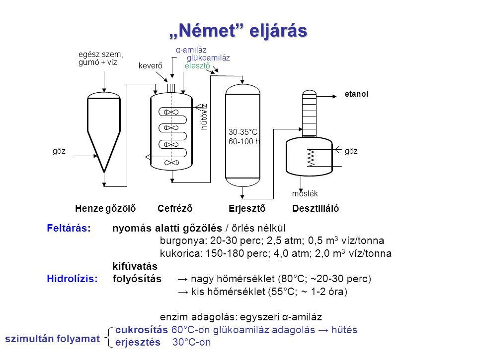 """""""Német"""" eljárás egész szem, gumó + víz gőz hűtővíz α-amiláz glükoamiláz élesztő keverő 30-35°C 60-100 h moslék gőz etanol Henze gőzölőCefrézőErjesztőD"""