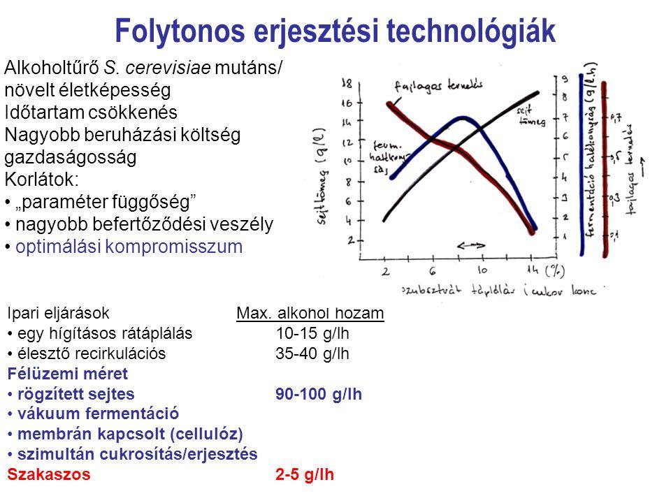 Folytonos erjesztési technológiák Alkoholtűrő S. cerevisiae mutáns/ növelt életképesség Időtartam csökkenés Nagyobb beruházási költség gazdaságosság K