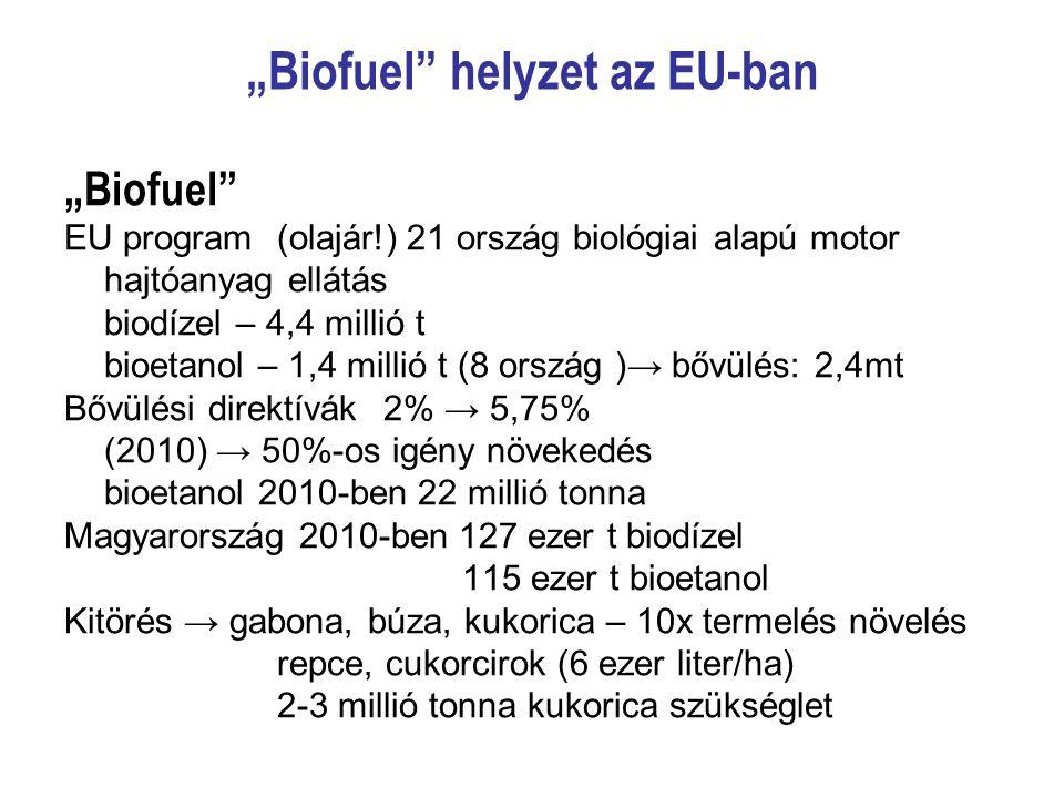 """""""Biofuel"""" helyzet az EU-ban """"Biofuel"""" EU program(olajár!) 21 ország biológiai alapú motor hajtóanyag ellátás biodízel – 4,4 millió t bioetanol – 1,4 m"""