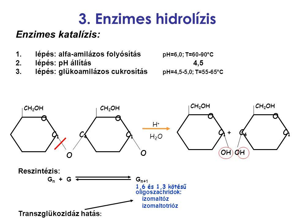3. Enzimes hidrolízis Enzimes katalízis: 1.lépés: alfa-amilázos folyósítás pH=6,0; T=60-90°C 2.lépés: pH állítás 4,5 3.lépés: glükoamilázos cukrosítás