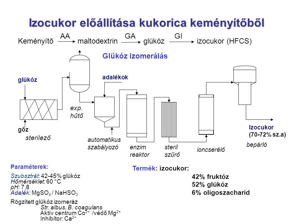 Izocukor előállítása kukorica keményítőből Paraméterek: Szubsztrát: 42-45% glükóz Hőmérséklet: 60 °C pH: 7,8 Adalék: MgSO 4 / NaHSO 3 Rögzített glükóz