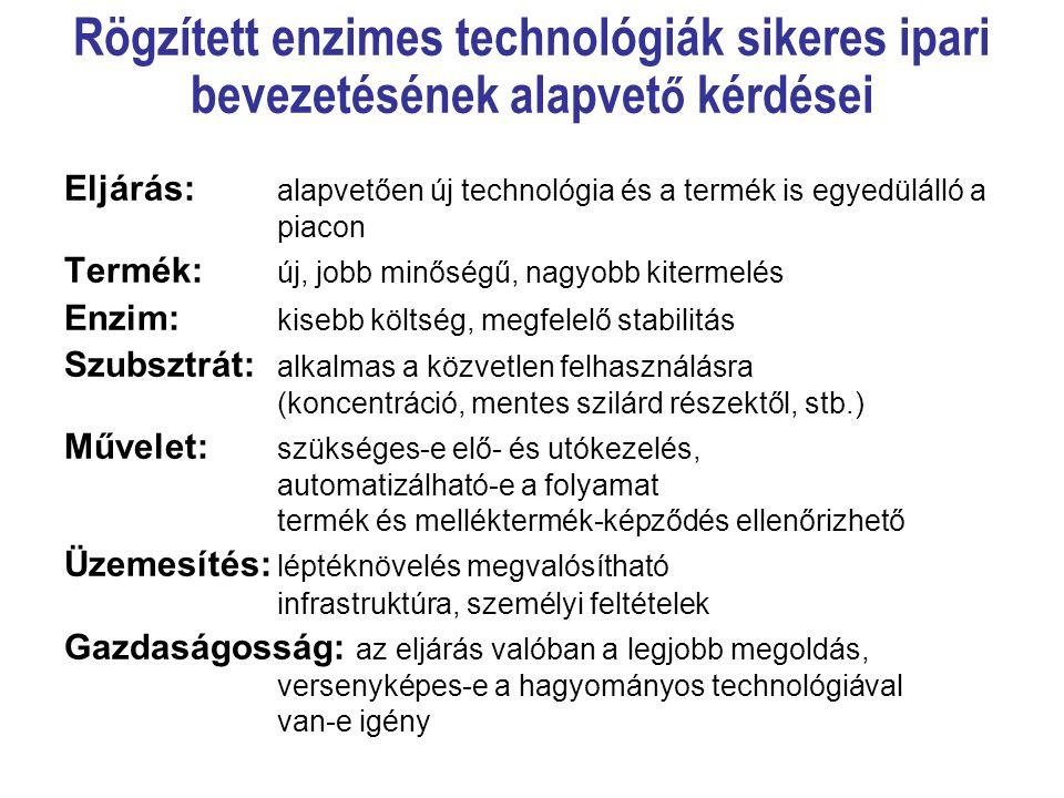 Rögzített enzimes technológiák sikeres ipari bevezetésének alapvet ő kérdései Eljárás: alapvetően új technológia és a termék is egyedülálló a piacon T