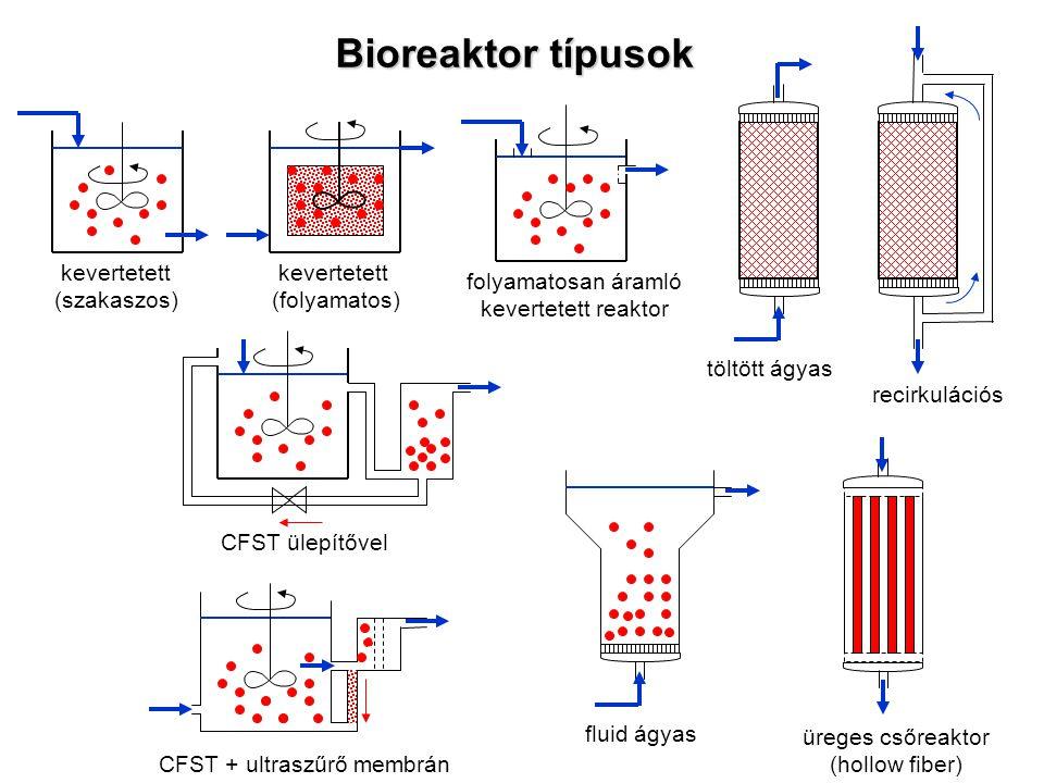 Bioreaktor típusok kevertetett (szakaszos) kevertetett (folyamatos) folyamatosan áramló kevertetett reaktor töltött ágyas recirkulációs fluid ágyas ür