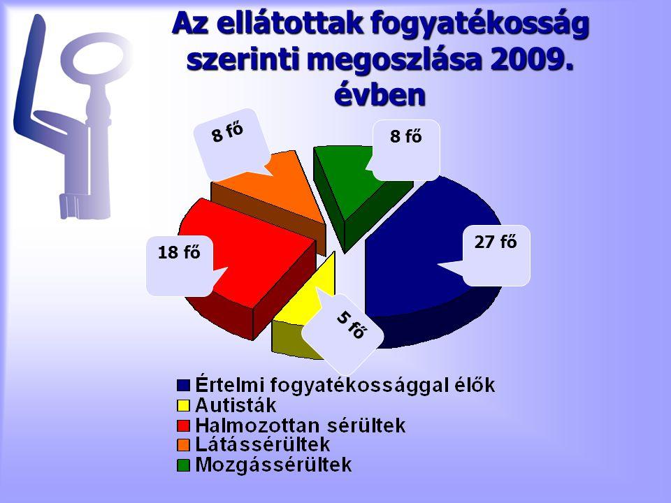 Az ellátottak fogyatékosság szerinti megoszlása 2009. évben 27 fő 8 fő 18 fő 5 fő
