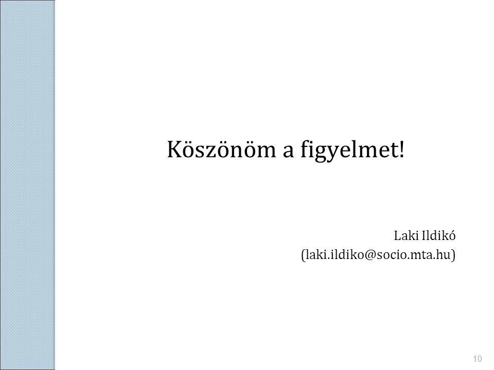 Köszönöm a figyelmet! Laki Ildikó (laki.ildiko@socio.mta.hu) 10