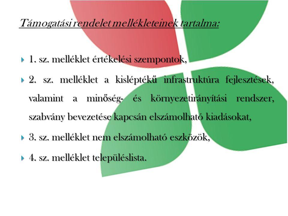  1. sz. melléklet értékelési szempontok,  2. sz.