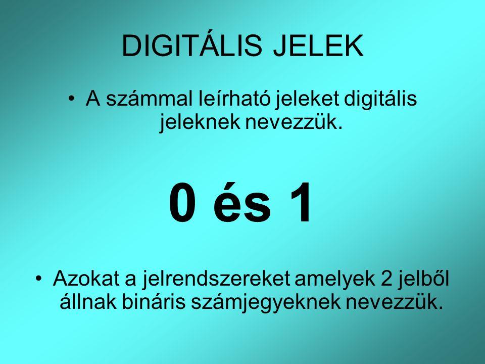 DIGITÁLIS JELEK A számmal leírható jeleket digitális jeleknek nevezzük. 0 és 1 Azokat a jelrendszereket amelyek 2 jelből állnak bináris számjegyeknek