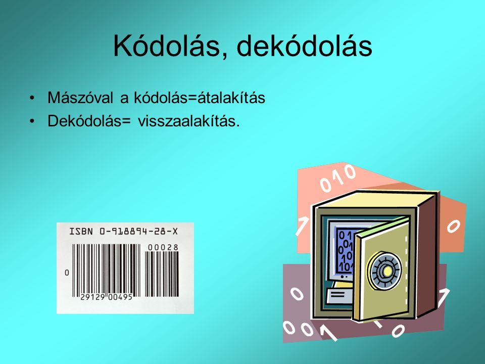 Kódolás, dekódolás Mászóval a kódolás=átalakítás Dekódolás= visszaalakítás.