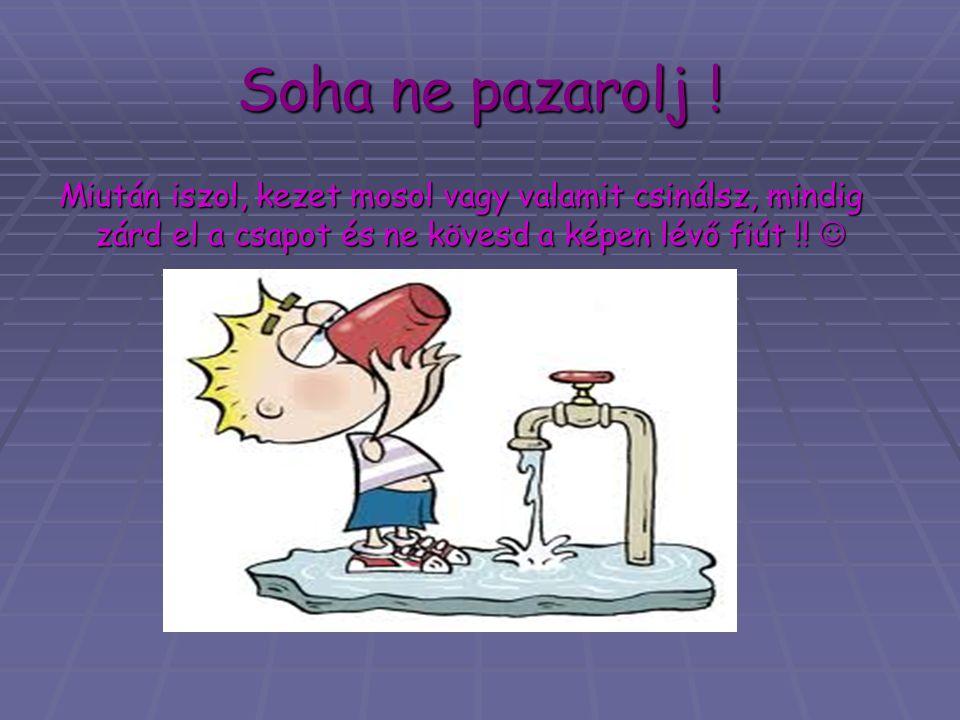 Soha ne pazarolj ! Miután iszol, kezet mosol vagy valamit csinálsz, mindig zárd el a csapot és ne kövesd a képen lévő fiút !! Miután iszol, kezet moso
