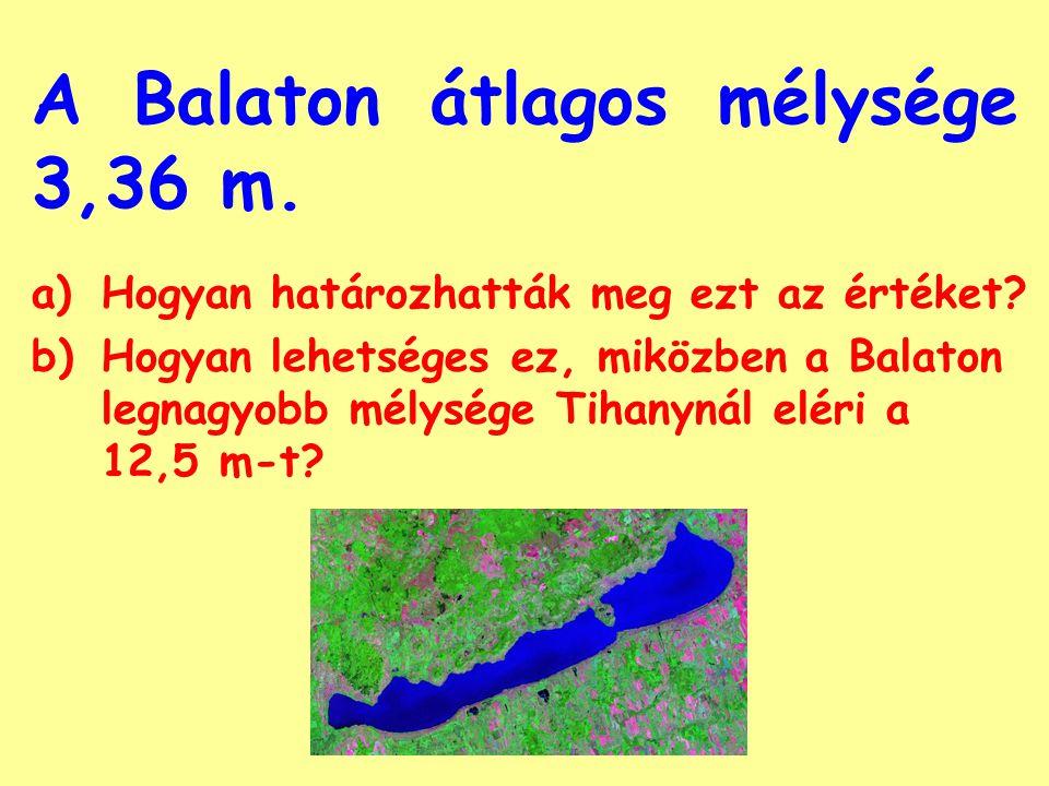 A Balaton átlagos mélysége 3,36 m.a)Hogyan határozhatták meg ezt az értéket.