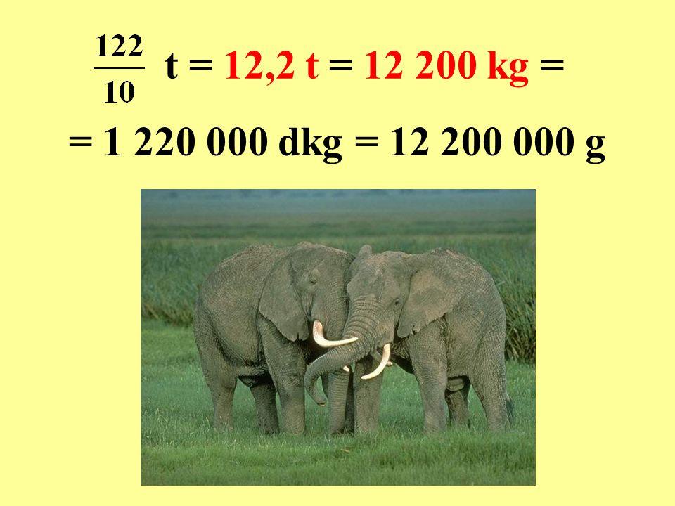 t = 12,2 t = 12 200 kg = = 1 220 000 dkg = 12 200 000 g
