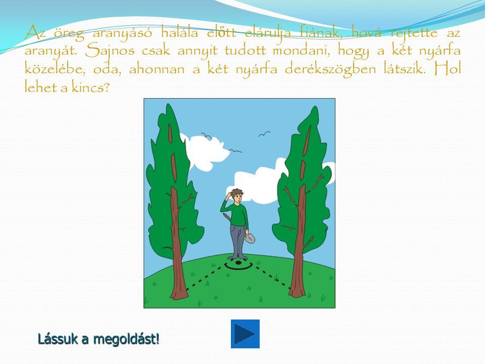 Megoldás A fiúnak olyan kör mentén kell ásnia, melynek egyik átmérőjét a két nyárfa jelöli ki.