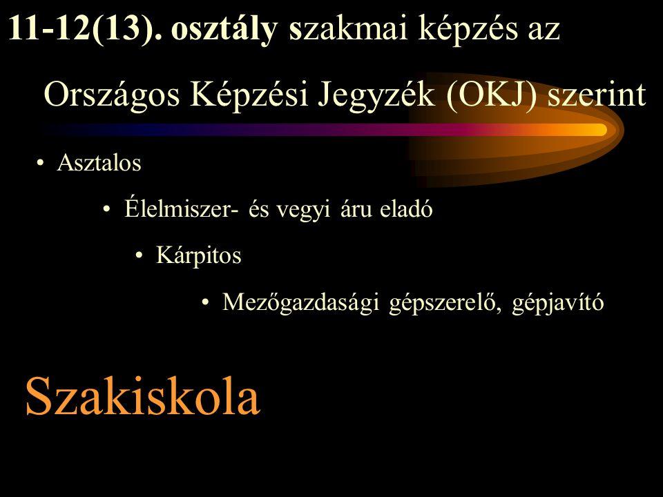 Szakiskola Asztalos Élelmiszer- és vegyi áru eladó Kárpitos Mezőgazdasági gépszerelő, gépjavító 11-12(13).
