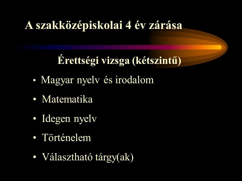 A szakközépiskolai 4 év zárása Érettségi vizsga (kétszintű) Magyar nyelv és irodalom Matematika Idegen nyelv Történelem Választható tárgy(ak)