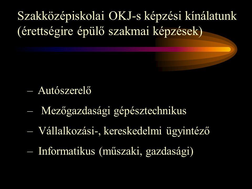 Szakközépiskolai OKJ-s képzési kínálatunk (érettségire épülő szakmai képzések) – Autószerelő – Mezőgazdasági gépésztechnikus – Vállalkozási-, kereskedelmi ügyintéző – Informatikus (műszaki, gazdasági)
