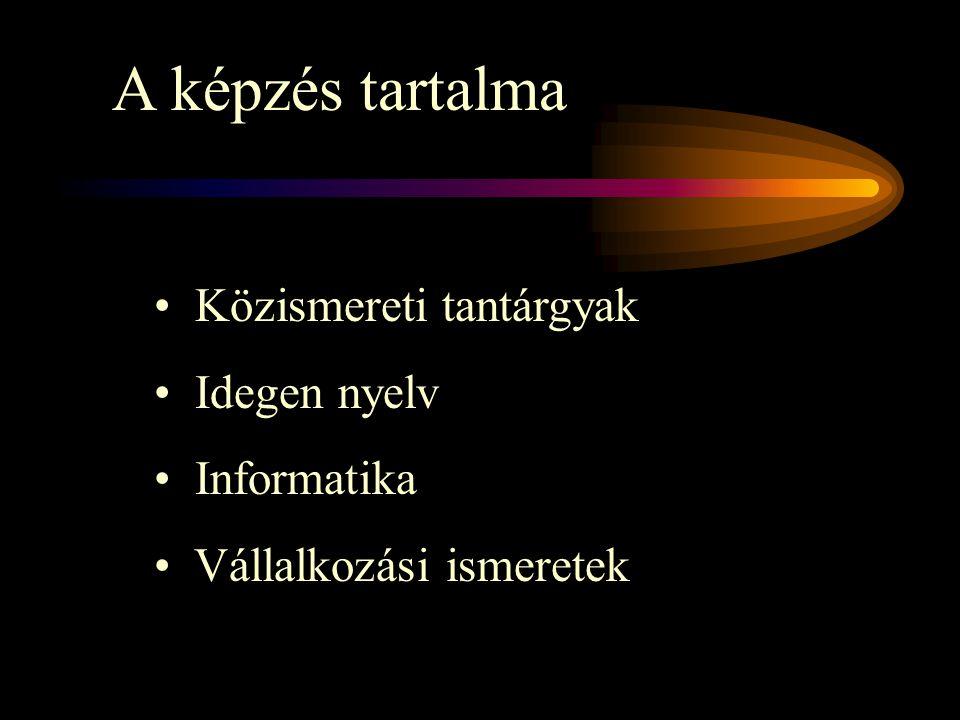 A képzés tartalma Közismereti tantárgyak Idegen nyelv Informatika Vállalkozási ismeretek