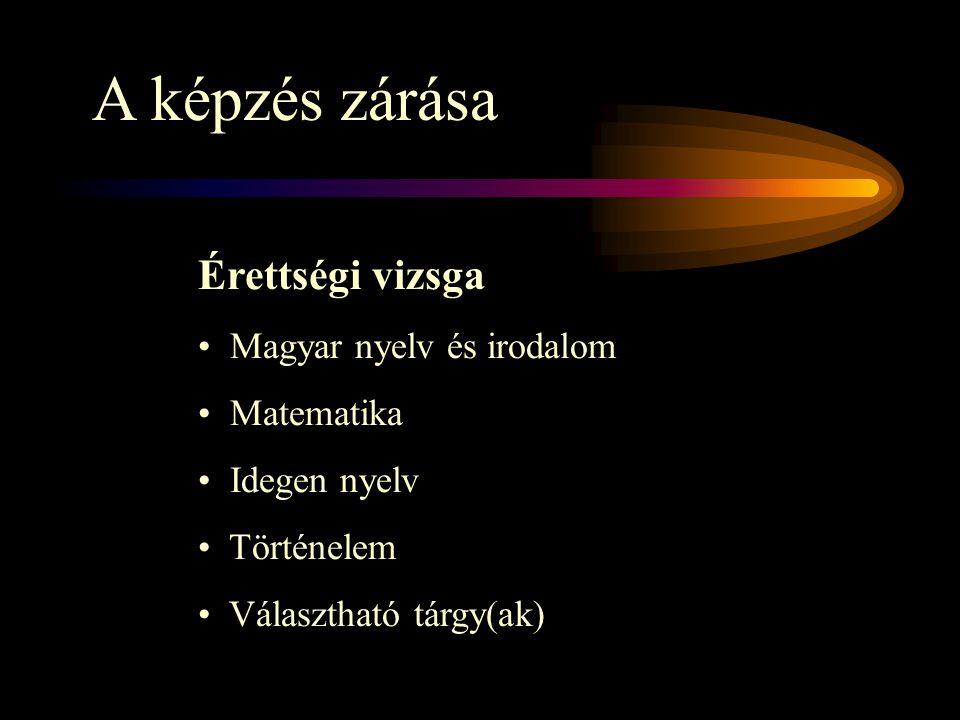 A képzés zárása Érettségi vizsga Magyar nyelv és irodalom Matematika Idegen nyelv Történelem Választható tárgy(ak)