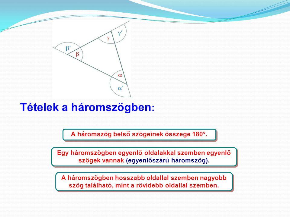 Tételek a háromszögben : A háromszög belső szögeinek összege 180°. Egy háromszögben egyenlő oldalakkal szemben egyenlő szögek vannak (egyenlőszárú hár