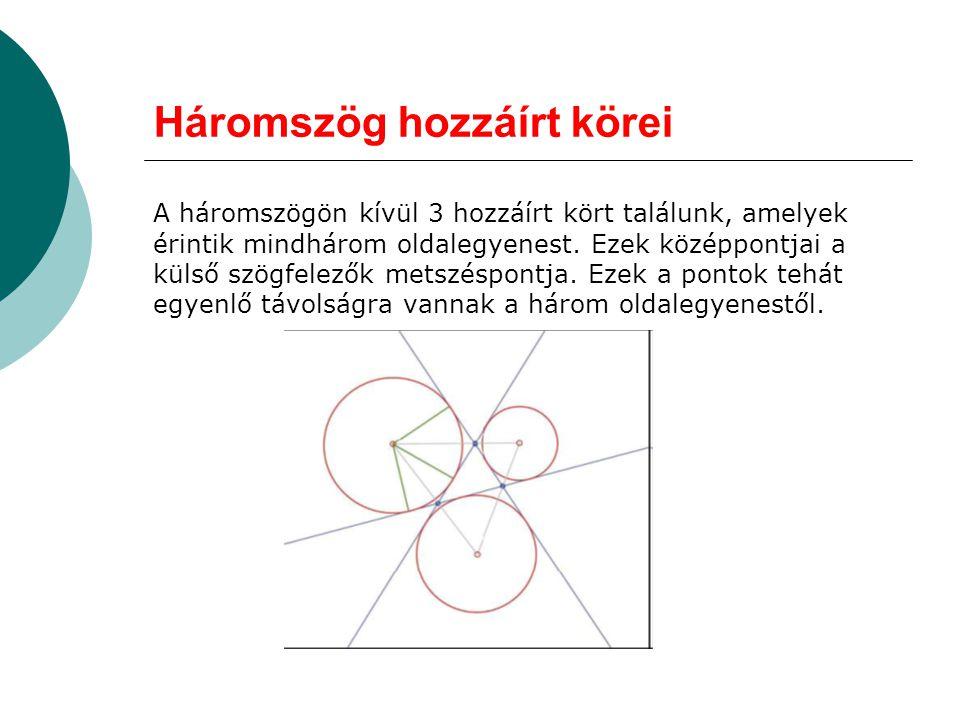 Háromszög hozzáírt körei A háromszögön kívül 3 hozzáírt kört találunk, amelyek érintik mindhárom oldalegyenest. Ezek középpontjai a külső szögfelezők