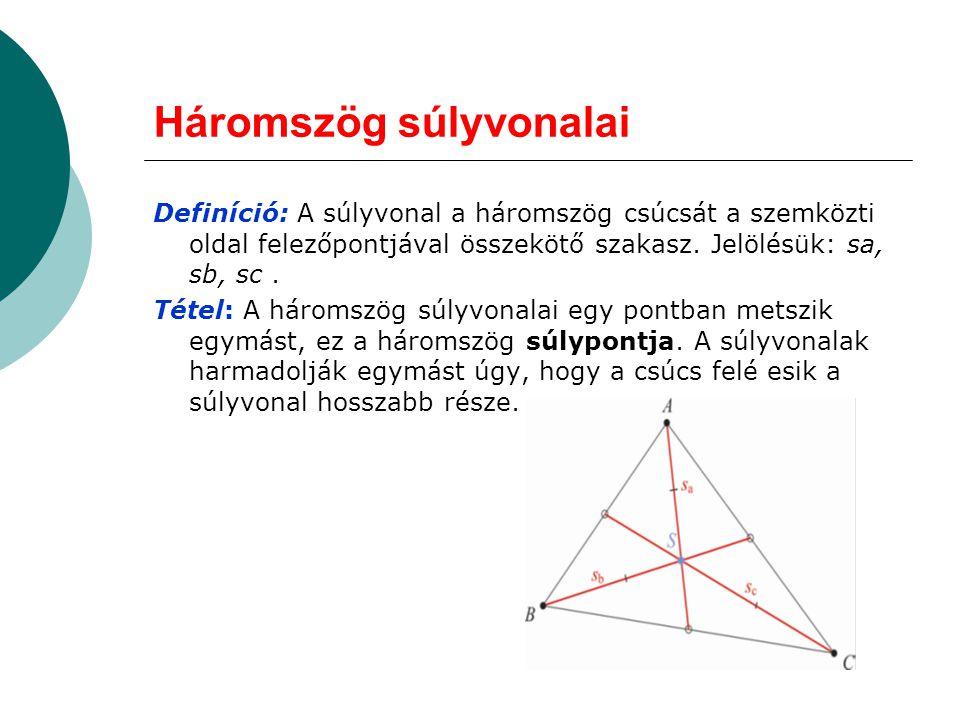 Háromszög súlyvonalai Definíció: A súlyvonal a háromszög csúcsát a szemközti oldal felezőpontjával összekötő szakasz. Jelölésük: sa, sb, sc. Tétel: A