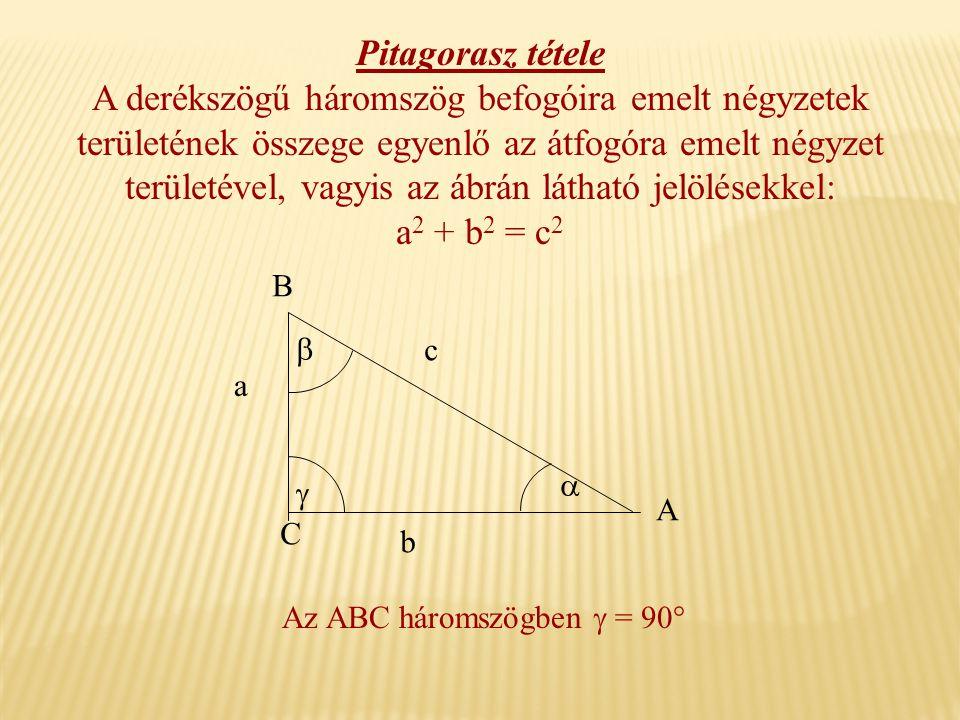 a b c A B C    Az ABC háromszögben  = 90° Pitagorasz tétele A derékszögű háromszög befogóira emelt négyzetek területének összege egyenlő az átfogóra emelt négyzet területével, vagyis az ábrán látható jelölésekkel: a2 a2 + b2 b2 = c2c2