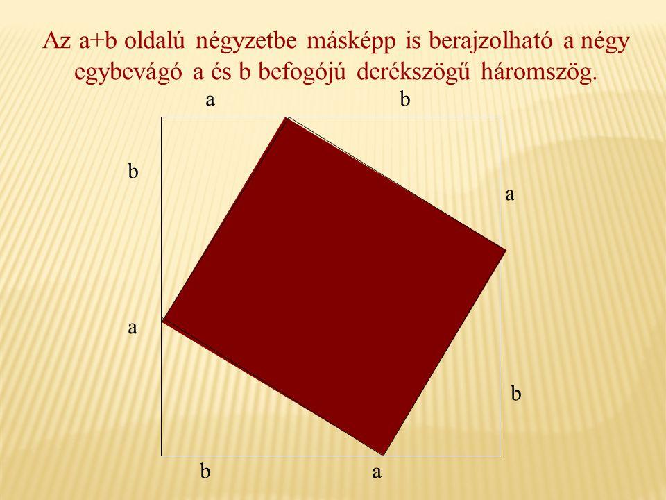 Az a+b oldalú négyzetbe másképp is berajzolható a négy egybevágó a és b befogójú derékszögű háromszög. b a ba b a ba
