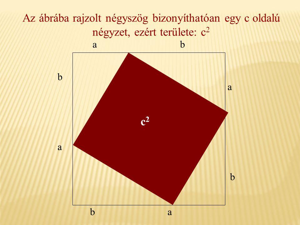 Az ábrába rajzolt négyszög bizonyíthatóan egy c oldalú négyzet, ezért területe: c 2 b a ba b a ba c2c2