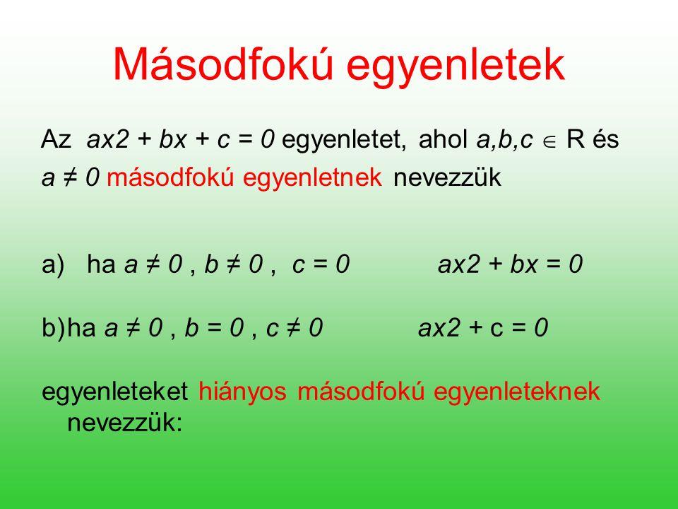 Megoldási módszerek a) Grafikus megoldási módszer x 2 – 2 = x f(x) = x 2 – 2 g(x) = x f(x) = g(x) A két grafikon metszéspontjainak x koordinátái x 1 = -1 x 2 = 2