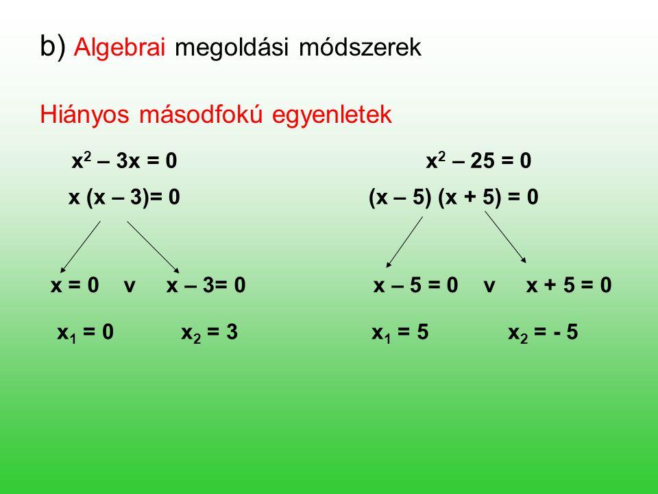 b) Algebrai megoldási módszerek Hiányos másodfokú egyenletek x 2 – 3x = 0 x 2 – 25 = 0 x (x – 3)= 0 (x – 5) (x + 5) = 0 x = 0 v x – 3= 0 x – 5 = 0 v x